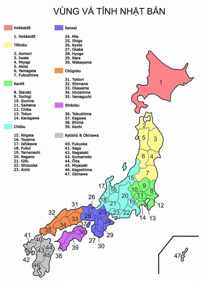 Vị trí các Tỉnh Nhật Bản